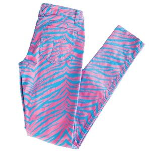 NWT Tripp NYC Juniors Size 7 Pink Blue Zebra Pants